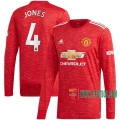Nuevas Primera Camiseta Futbol Manchester United Manga Larga Phil Jones #4 2020-2021