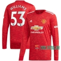 La Nueva Primera Camiseta Futbol Manchester United Manga Larga Brandon Williams #53 2020-2021