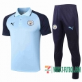 Polo Futbol Manchester City Azul claro - Manches Royal Blue + Pantalon 2020 2021 P183