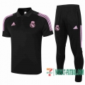 Polo Futbol Real Madrid negro + Pantalon 2020 2021 P187