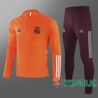 Chandal Futbol Real Madrid naranja + Pantalon 2020 2021 T60